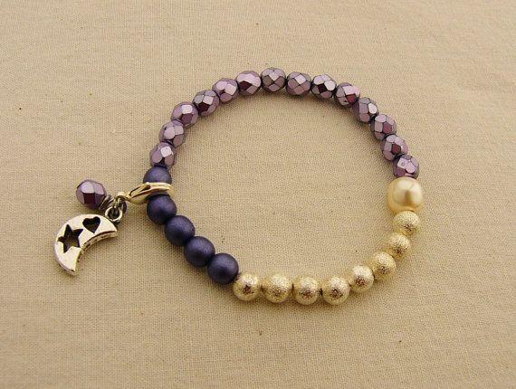 Period Tracking Bracelet, Selene Beads Bracelet, Menstruation Bracelet, Purple Bead Bracelet, First Period Gift, Menarche Gift