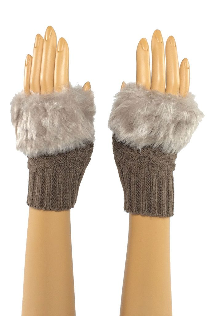 Brown Wrist Length Faux Fur Fingerless Gloves Stroke me, stroke me! Or so the song goes... And yes, the faux fur on these pups is as soft as it looks. Perfect for brushing that snowflake from your cheek when the rest of your world is making you chapped and raw. #fingerless #fashion #crochet