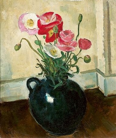 Takanori Oguiss, BOUQUET DE COQUELICOTS, oil on canvas   MutualArt.com