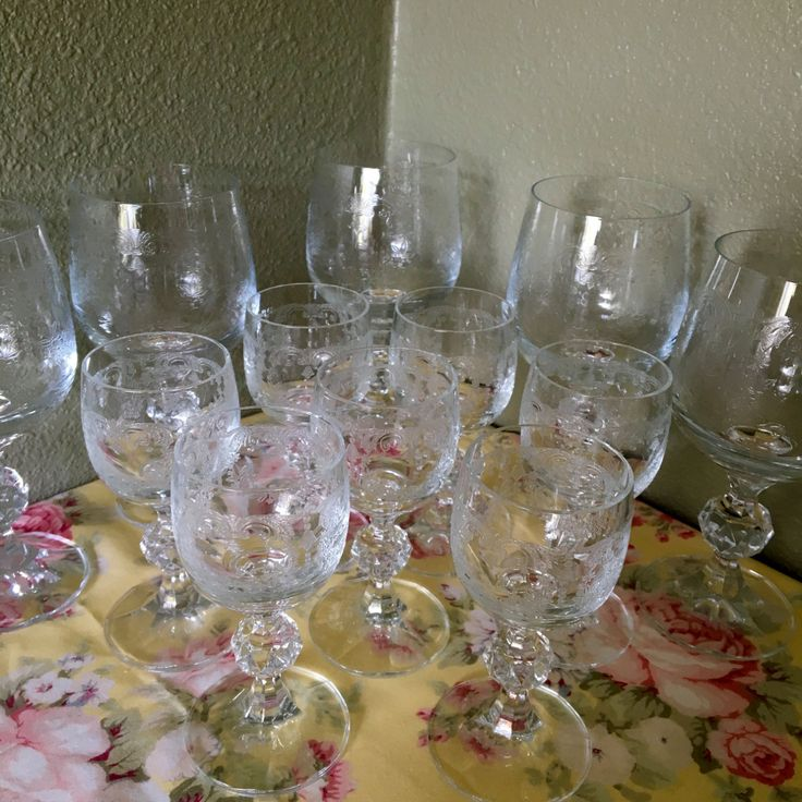 Set of 12 Needle etched, depression glass, wine glasses, dessert wine glasses, sherry glasses, Fostoria?, Tiffin?, unknown maker by NewLife4OldTreasures on Etsy
