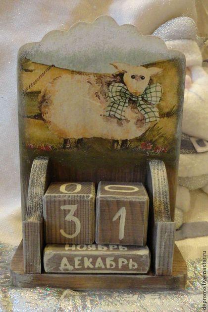 Календари ручной работы. Ярмарка Мастеров - ручная работа Вечный календарь Год овечки. Handmade.