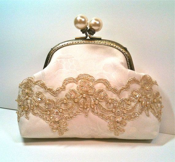 Bridal Clutch Off White with Gold Trim Pearls and by lynniebbridal, $58.00