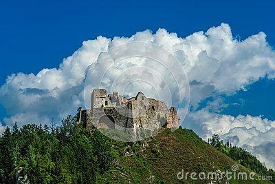 The ruins of the Czorsztyn castle on the hill