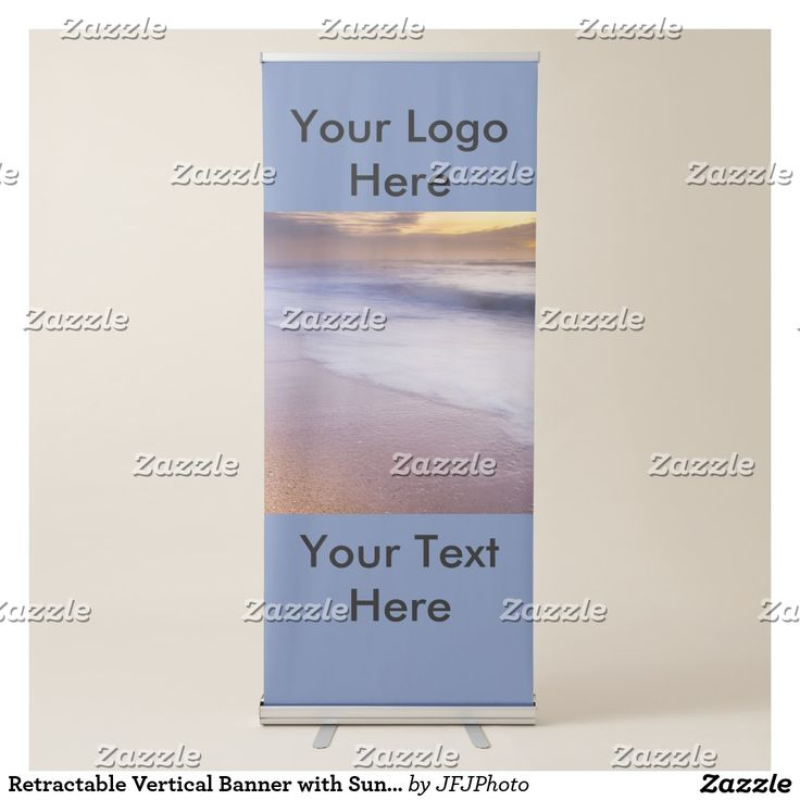 Retractable Vertical Banner with Sunrise on Beach