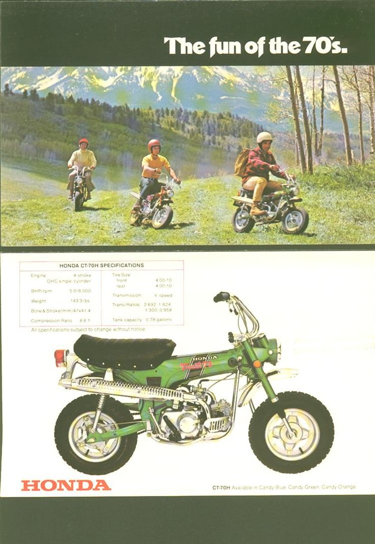 Honda CT70 / fun of the 70's...I remember these...not quite motorcycles and not quite scooters or mopeds.
