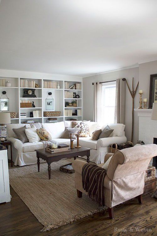 Cozy Neutral Fall Living Room From Rustic Woven Ideas For Fall Pinterest Seasons Chairs