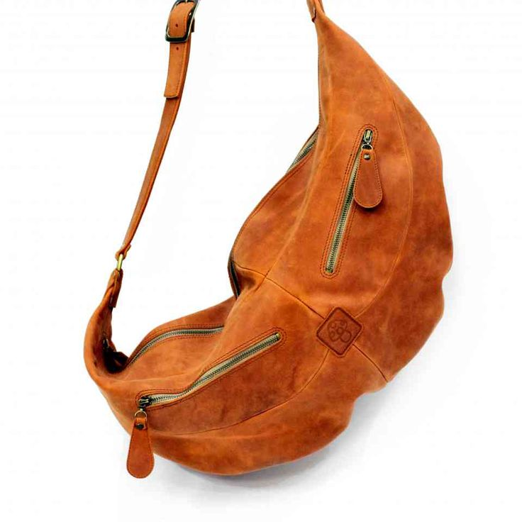 Объемная оранжевая сумка унисекс через плечо | 100% кожа, ручная работа | Leonid Titow