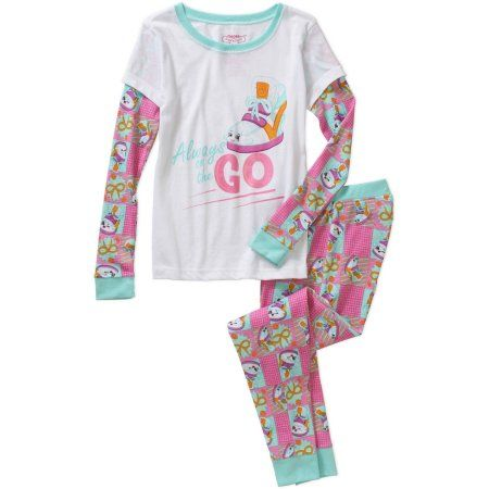 Shopkins Girls' Long Sleeve Wedge Waffle Top and Pant Sleepwear Set, Size: 4, Multicolor