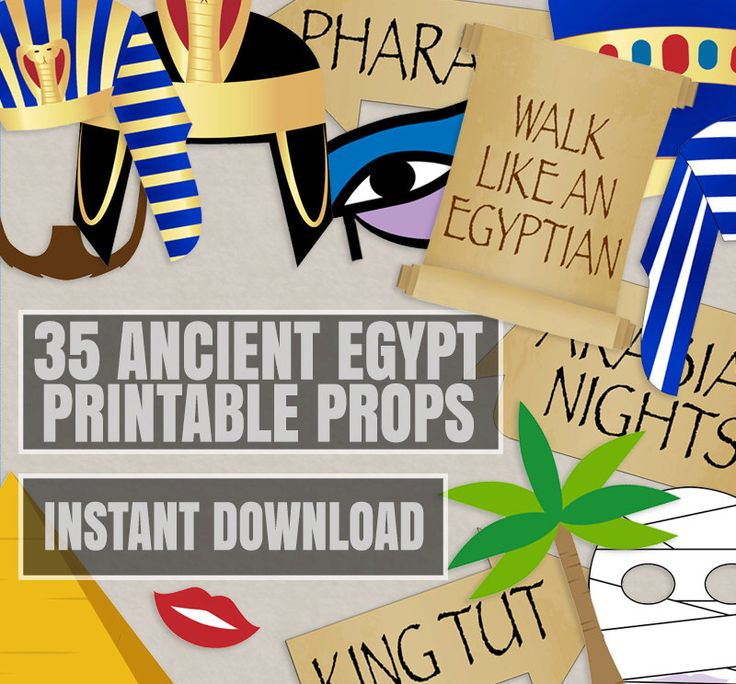 35 Ancient Egyptian Party Props, Egypt party photo booth printables, Egyptian themed party ideas, pharaoh hat props, ancient egypt theme diy de YouGrewPrintables en Etsy https://www.etsy.com/es/listing/292194155/35-ancient-egyptian-party-props-egypt