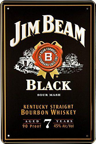 Amazon De Jim Beam Black Whiskey Blechschild 20 X 30 Cm Reklame Retro Blech 375 Jim Beam Kentucky Straight Bourbon Whiskey Bar Signs