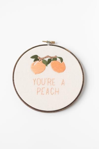 You're A Peach // Hand Stitched Embroidery Hoop Art by Thistle & Thread Design in Louisville, Kentucky. This hoop is just as sweet as a ripe Georgia peach. Hand stitched with care and created to show