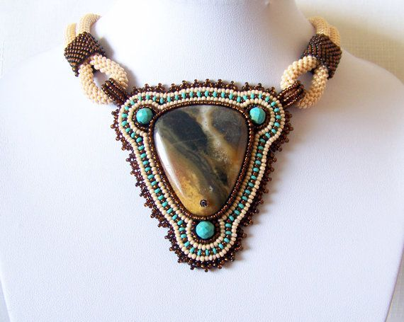 Statement Beadwork Bead Embroidery Pendant Necklace with by lutita