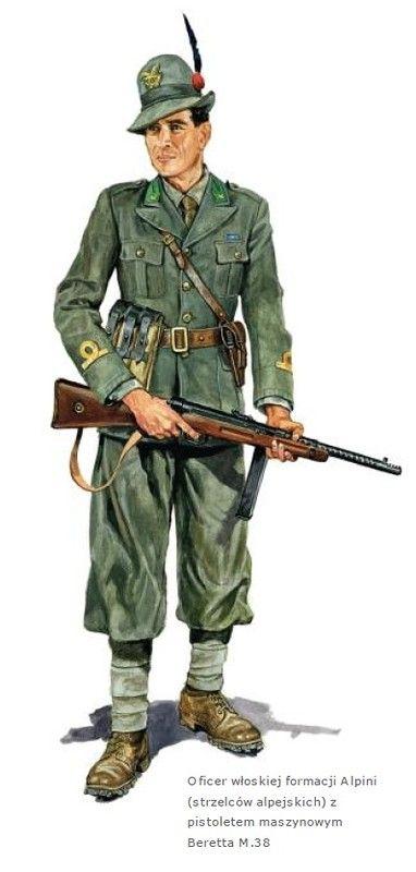 Regio Esercito - Tenente degli Alpini armato con mitra Beretta M 38