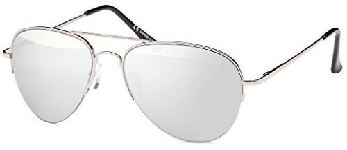 Sonnenbrille verspiegelt Pilotenbrille mit flexiblen Federbügeln für breitere bis normale Köpfe Gesichter - Spiegelglas Fliegerbrille aviator Damen + Herren