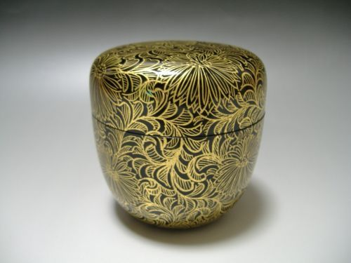 Japanese-Wooden-Lacquer-Natsume-Tea-Caddy-Gold-Makie-Tea-Ceremony-Japan