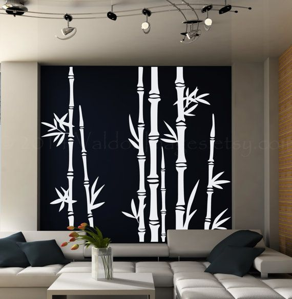 Bamboo tree wall decal living room wall decal tree por ValdonImages
