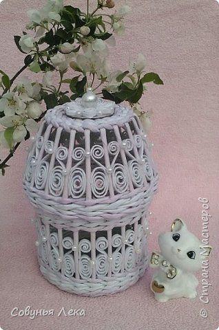 Поделка изделие Плетение Шкатулка Нежность Бусины Трубочки бумажные фото 2