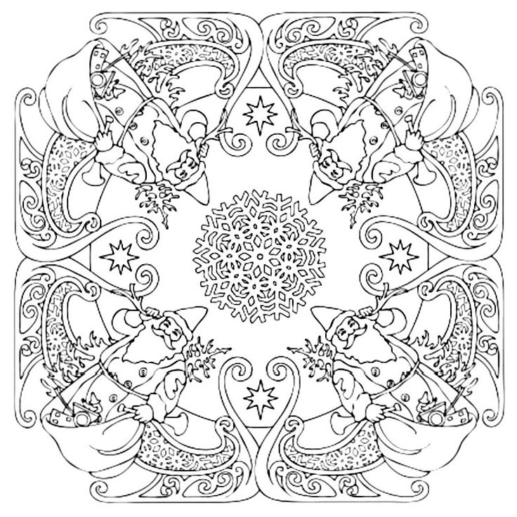 Mandala 600, Christmas Designs 3D Coloring Book, Dover Publications