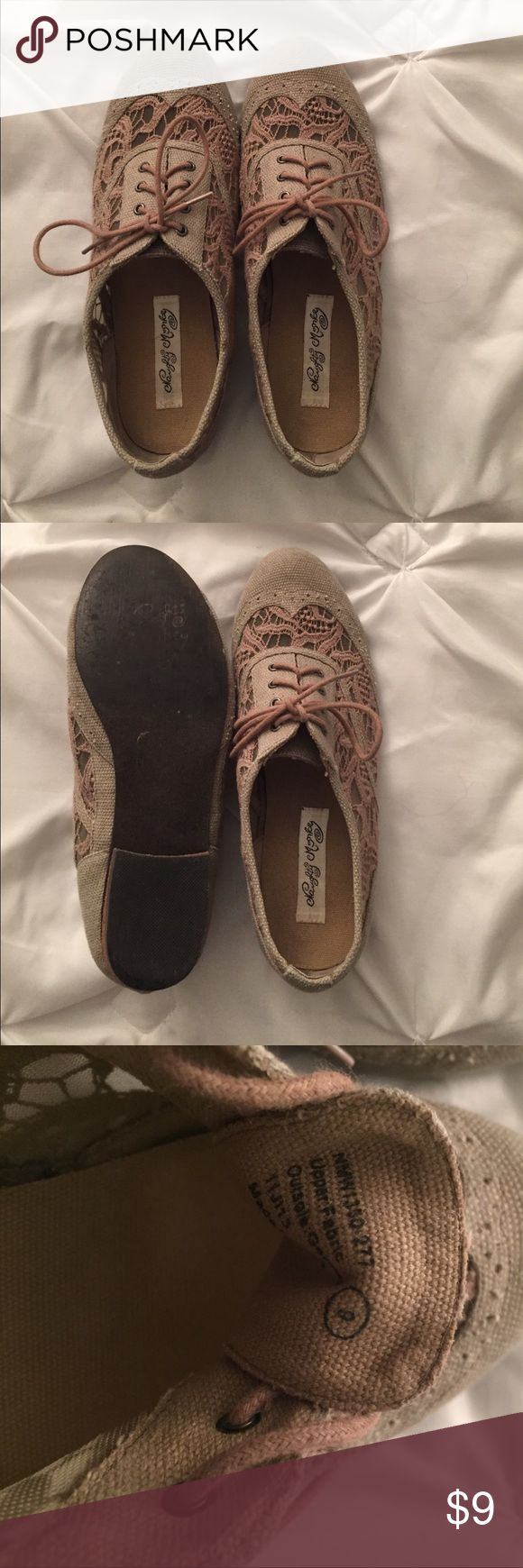 Adorable tan/cream colored size 9 lace oxfords! These adorable size 9 oxfords have lace on the toe and on the sides. They are from Naughty Monkey. I am reposhing because they fit too big on me. Come from a smoke and pet free home! Shoes