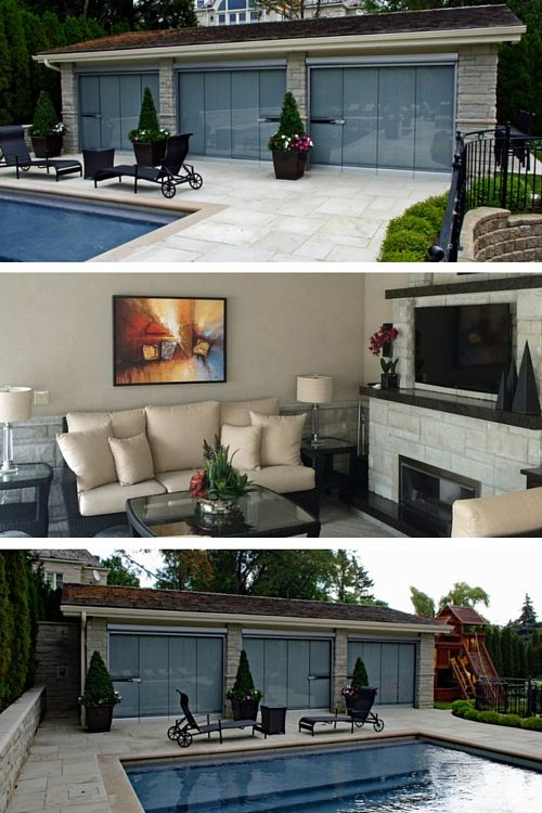 LUXURY POOLSIDE CABANA. This large, fully enclosed open concept stone and stucco cabana boasts a large room for family gatherings or large parties. A built in stone charcoal BBQ, custom made bar cabinetry, gas fireplace, fully automated audio and video system, functional and mood lighting, quartz heaters, full kitchen, oversized 4 piece bathroom, tempered glass foldaway door panels, fully automated insect screens, flagstone flooring and an outdoor shower with an oversized rain head.