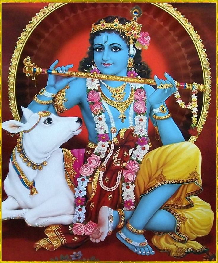 """The Lord descends to this mortal world to show His pastimes in Vrndävana, which are full of happiness. When Lord Sri Krsna was in Vrndävana, His activities with His cowherd boyfriends, with His damsel friends, with the other inhabitants of Vrndävana and with the cows were all full of happiness.""- Bhagavad Gita As It Is, Intro"