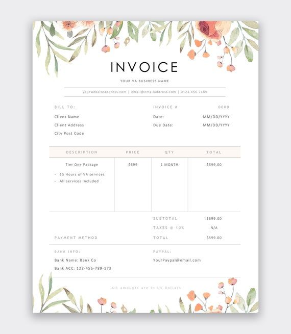 Virtual Assistant Invoice Template Freelance Invoice Template Va Artist Invoice Template Invoice Design Invoice Design Template Freelance Invoice Template