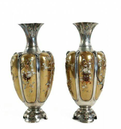 Rare Pair of Silver Vases in Shibayama Inlaid by Masatsugu, 19th century.