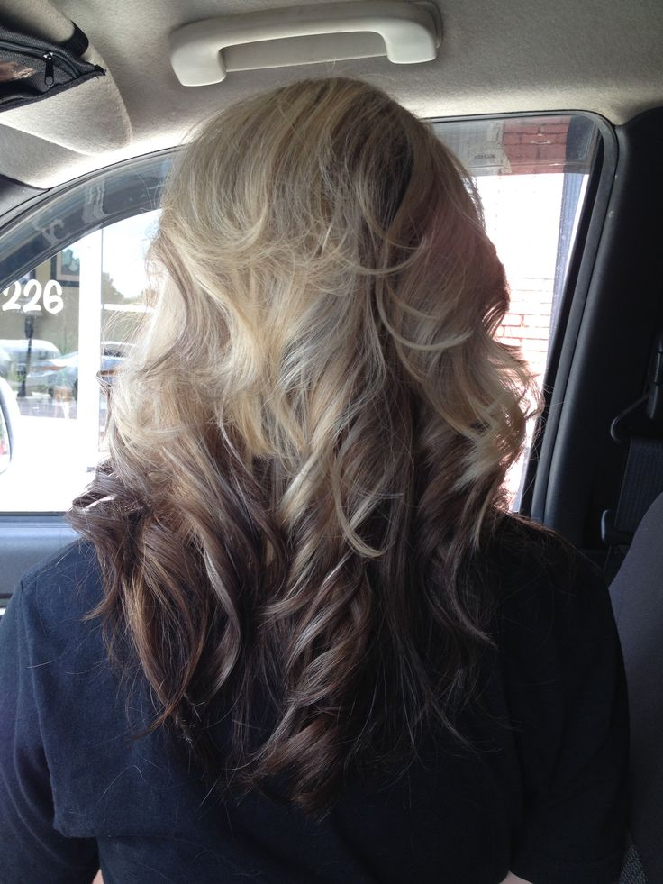 Blonde highlights on top, dark brown ombre on bottom of ...