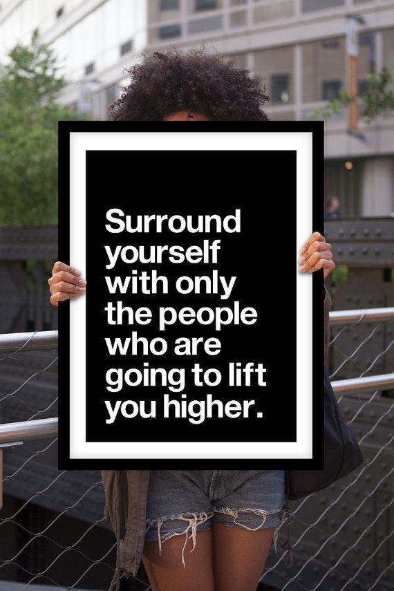 Inspiration typographie impression affiche « Entourez-vous avec seulement les personnes » motivation devis Wall Decor Home décor Art été tendances