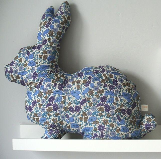 Bunny Cushion in Liberty Print; Daisy Blue, by Little Cloud via Folksy, £30.00