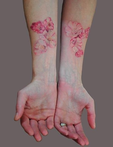 Water color pink flower tattoo art ink and artist for Pink ink tattoo