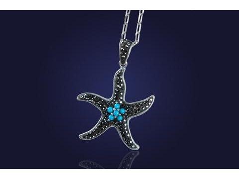 srebrna rozgwiazda - biżuteria znad morza :)