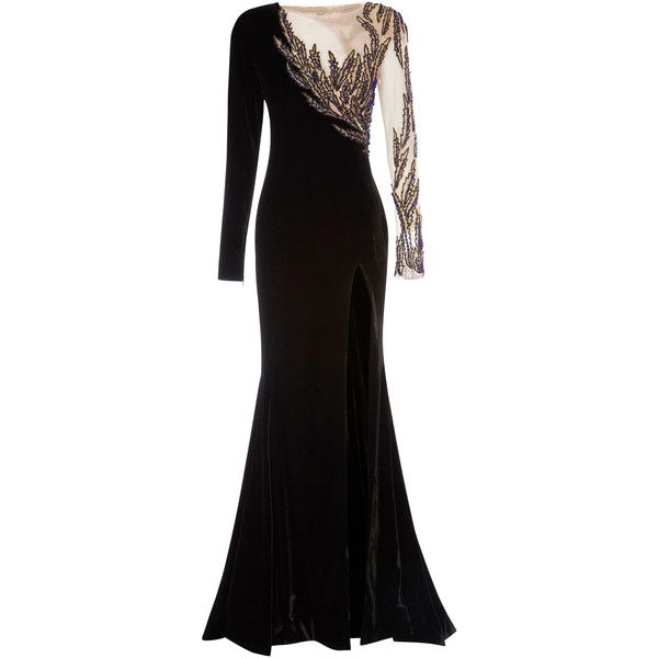 Rachel Gilbert Riva Gown ($5,400) ❤ liked on Polyvore featuring dresses, gowns, black, beaded evening dress, beading dress, transparent dress, rachel gilbert and beaded dress