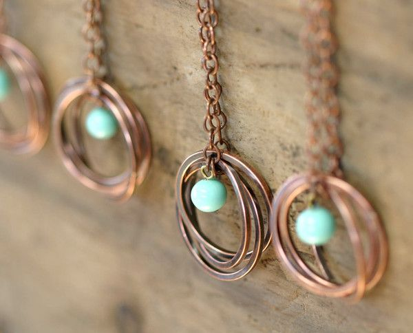 Vintage Blue Bead Copper Trinity Ring Necklace by Monkeys Always Look