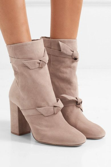 ALEXANDRE BIRMAN Lorraine elegant knotted taupe suede ankle boots