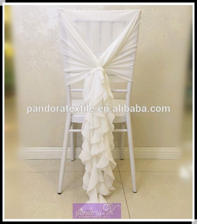 Fancy Chiffon ruffle chair sash curly willow wedding chair covers chair sash hood