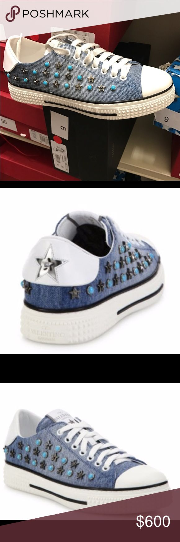 Valentino star-studded denim sneakers size: 38 Valentino star-studded denim sneakers size: 38. Brand new, never worn. Purchased from Saks. Comes with everything (box/dust bag). Purchased from final sale and changed my mind! Valentino Shoes Sneakers