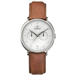 OBAKU Ahorn - cognac // stainless steel men's multifuntion with a tan leather strap