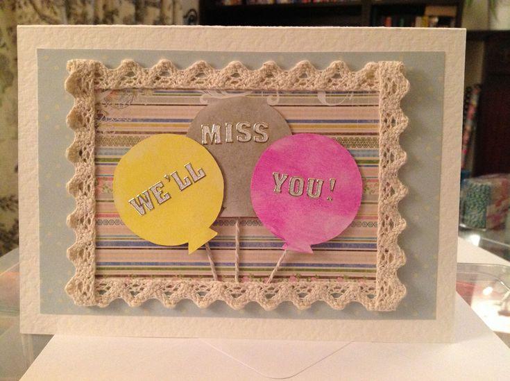 Handmade Farewell Card Farewell Greeting Cards Miss You Simple Greeting Card Designs Card Design Handmade Cards Handmade