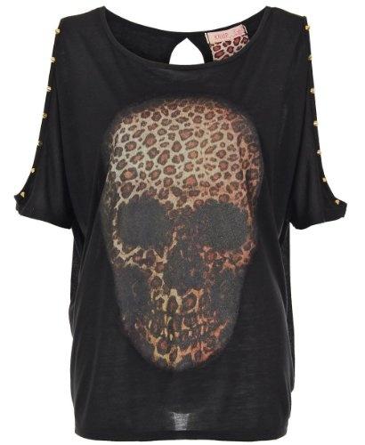 KRISP Ladies Women Oversize Skull Animal Printed Batwing Split Sleeve Top T Shirt Vest Gothic Gold Spike Studded Casual Evening