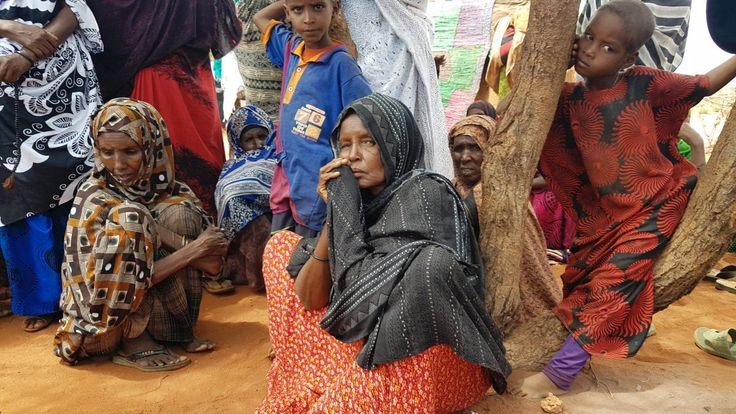 6/10/2017, Ader Ali Yusuf, center, a mother of 12 who was displaced from her village due to the ongoing drought in Ethiopia, sits among a group of women as an international delegation visits the Warder town of Ethiopia's drought stricken area near the border with Somalia. Ethiopia's government is warning it will run out of emergency food aid starting next month as the number of drought victims in the East African country has reached 7.8 million. (AP Photo/Elias Mes...