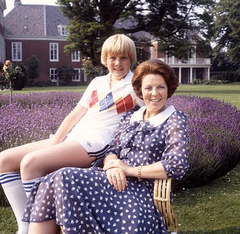 Crown Prince Willem-Alexander and Queen Beatrix in the grounds of Huis Ten Bosch Palace in the Hague, on 15 June 1982
