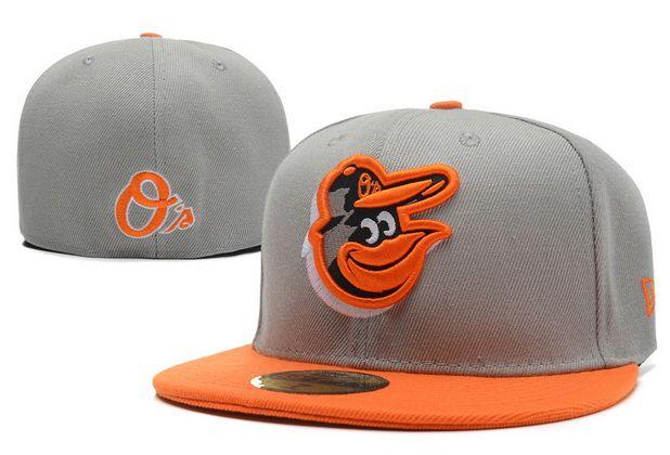 MLB Baltimore Orioles 59Fifty Hats Retro Classic Pop Caps Gray