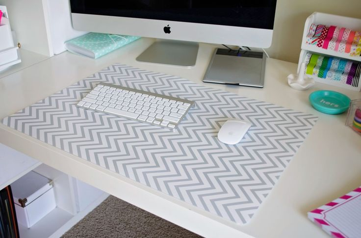 IKEA Desk Pad covered with grey and white chevron contact paper