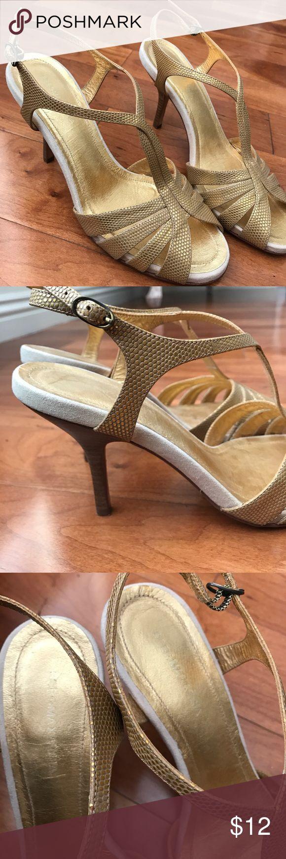 "BCBG gold sandal heels Snake skin look gold sandal heels from BCBG. All leather. About 1.5-2"" heels. Super comfortable, good condition. BCBG Shoes Sandals"