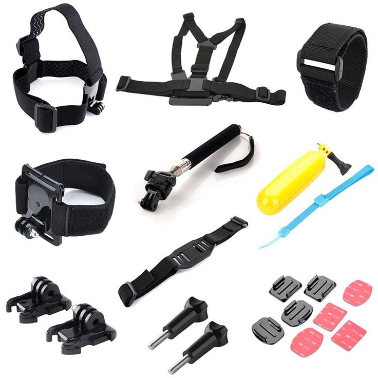 10 in 1 Kit Chest Head Strap Helmet Wrist Band Mount Monopod+Floating Grip Pole for GoPro HD 4/3+/3/2 - free shipping worldwide