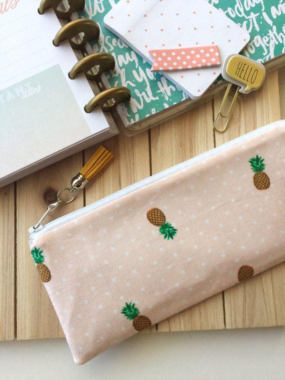 Pineapple Pencil case bag, zipper pouch clutch, planner accessories - with detachable tassel charm