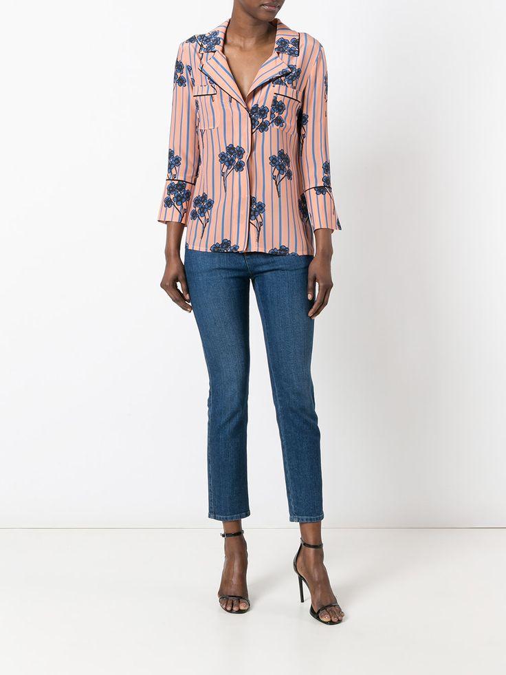 L'Autre Chose полосатая рубашка с цветочным рисунком