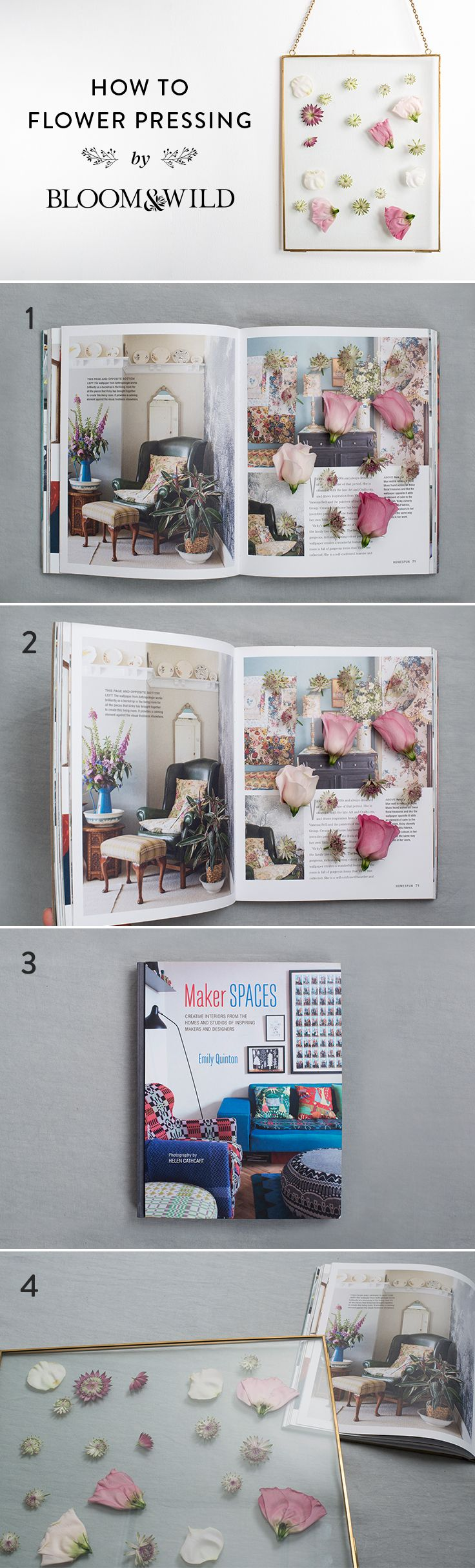 Creating beautiful hanging wall art with your favourite flowers is easy with our four easy steps.     01. Choose a thick book. Lay paper on the inside pages where you're going to place your flowers.    02. Cut your flowers and arrange them on one side of the book.      03. Close the book and leave the flowers to dry for a week.    04. Finally, place the dried flowers in a glass frame and hang.