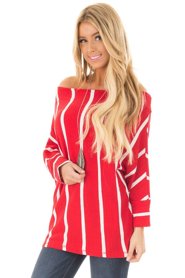 a1c9e68f86 Cherry Red Striped Off the Shoulder Top | Awesome Tops | Tops, Red ...